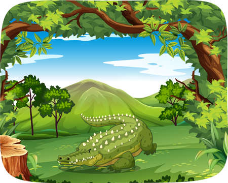 Crocodile in nature scene illustration