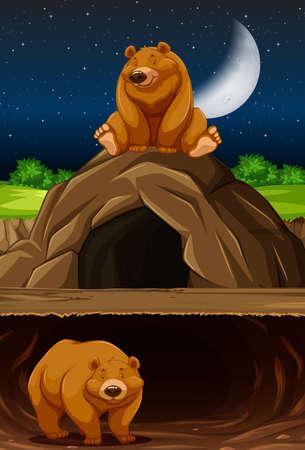 Ours à l'illustration de la grotte