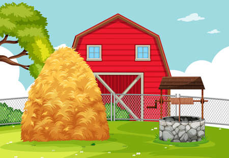 A rural farmland landscape illustration  イラスト・ベクター素材