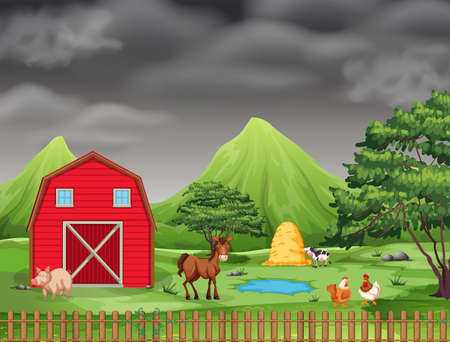 Many animal at farmland illustration