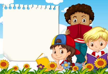 Children at the garden note template illustration Ilustrace