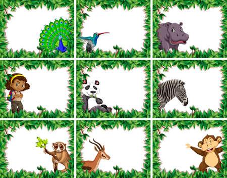 large set of animal and people nature frames illustration Çizim
