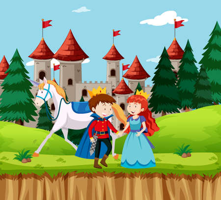 Princess and prince at the castle illustration