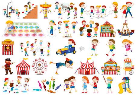 Set of kids playing illustration