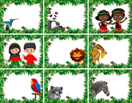 Set of animals and people in nature frame illustration