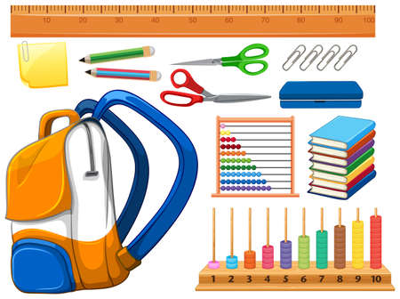 Set of school supplies illustration Ilustracja