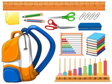 Set of school supplies illustration Illustration
