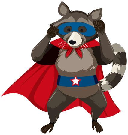 A skunk superhero character illustration Stock Illustratie