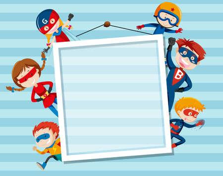 Set og superhero on frame illustration