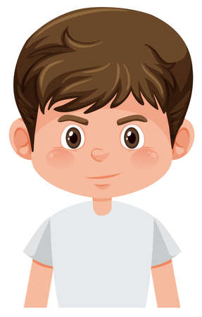 Young brunette boy isolated illustration