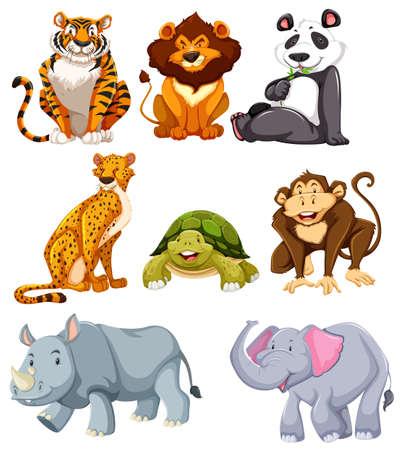 Set of cute animals  illustration Ilustração