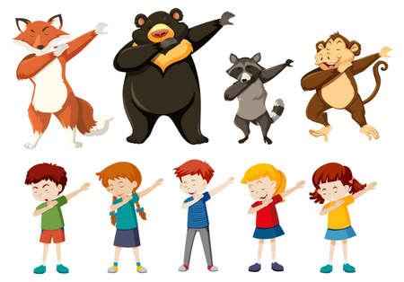 Set of dabbing people and animals illustration