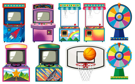Set of arcade games illustration