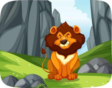 Lion in nature scene illustration