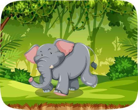 Elephant in woods scene illustration