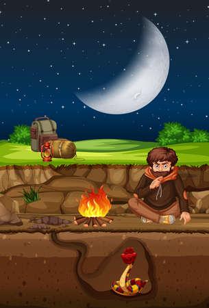 Man camping and snake undergound scene illustration Illustration