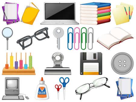 Ensemble d'illustration d'objets de bureau