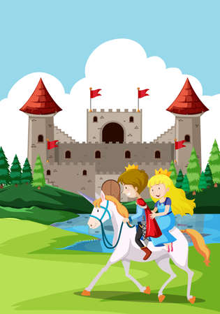 Happy prince and princes at the castle illustration