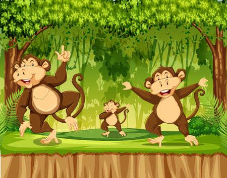 Group of monkey in rainforest illustration