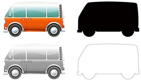 Set von Vintage-Van-Illustrationen Vektorgrafik