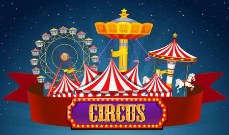 Ein Zirkusbanner auf der Himmelsillustration