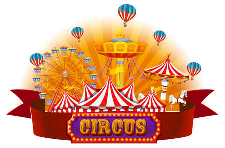 An isolated circus banner illustration
