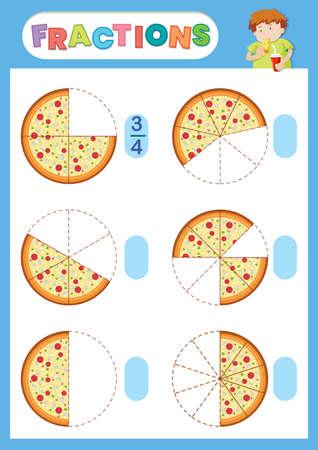 A math fraction worksheet illustration