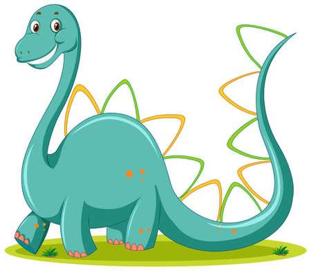 Cute dinosaur white background illustration