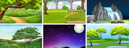 Set of nature landscape illustration 일러스트