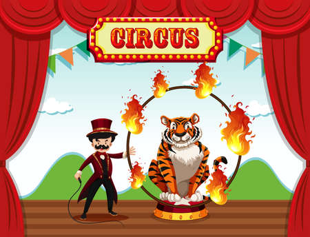 A magician perform on stage illustration Imagens - 124822043