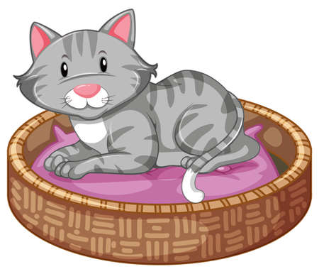 Cat sleeping in the bed illustration