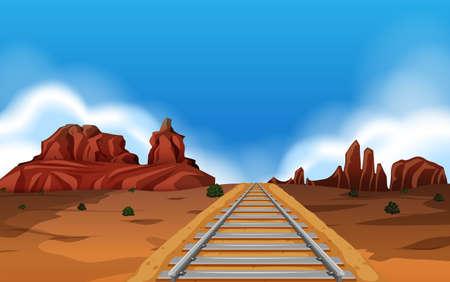 Train track in wild west background  illustration Ilustrace