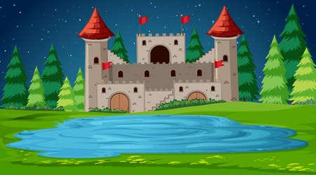 Castle scene at night Иллюстрация