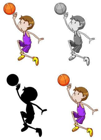 Set of basketball athletes 일러스트