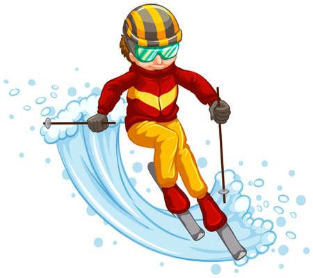 Man skiing isolated concept Иллюстрация