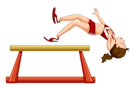 Girl falling off gymnastic beam