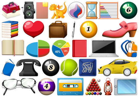 Large set of different objects Иллюстрация