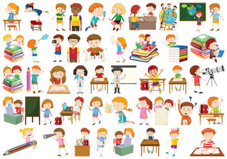 Set of different kids