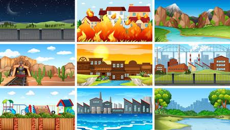 Set of different landscape Ilustração