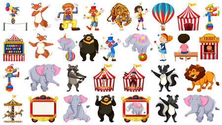 Set of circus element Иллюстрация