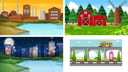 Set of different landscape Иллюстрация