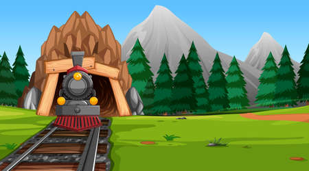 Travel to nature by train Иллюстрация