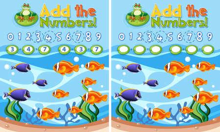 Add the numbers underwater reef Vektoros illusztráció
