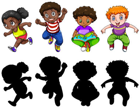 Set of chubby children character