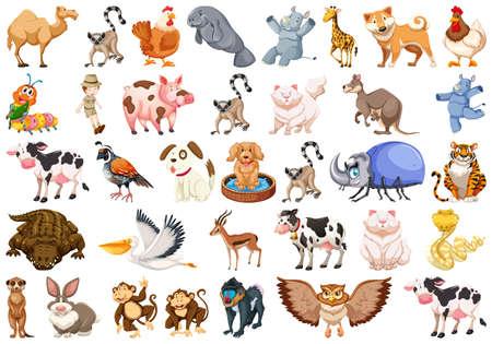 Set of different animals set Иллюстрация