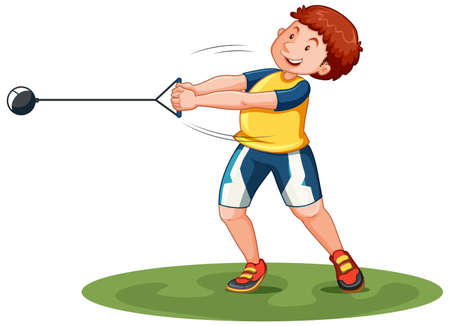 Man doing hammer throw illustration Illustration