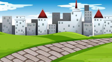 City scape in park scene  illustration