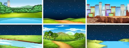 Natural environment lanscape scene illustration