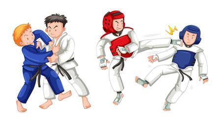 Sporting activity people on white background illustration Illustration