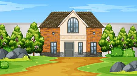 Exterior of home scene illustration